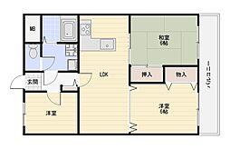 大阪府大阪市平野区瓜破3丁目の賃貸マンションの間取り