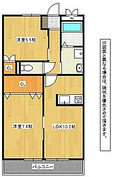 福岡県直方市大字畑の賃貸アパートの間取り