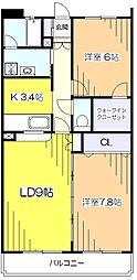東京都東村山市久米川町2丁目の賃貸マンションの間取り