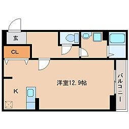 近鉄大阪線 桜井駅 徒歩6分の賃貸アパート 1階1Kの間取り