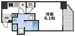 エグゼ堺筋本町 7階1Kの間取り
