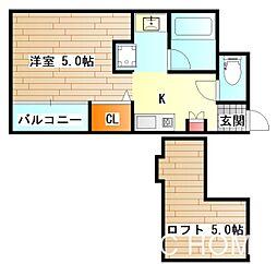大阪府堺市堺区甲斐町東4丁の賃貸アパートの間取り