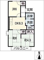 エル・ボナールB棟[2階]の間取り