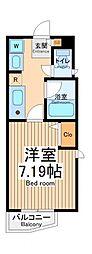 JR中央線 武蔵小金井駅 徒歩28分の賃貸アパート 2階1Kの間取り