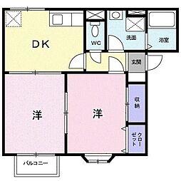 富山県富山市中冨居の賃貸アパートの間取り