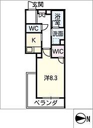 ロワール 3階1SKの間取り