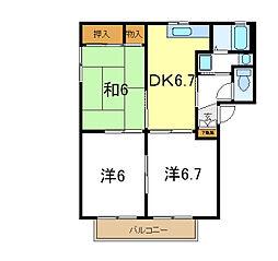 兵庫県加古川市野口町野口の賃貸アパートの間取り