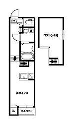 大阪府大阪市西淀川区姫島4丁目の賃貸アパートの間取り