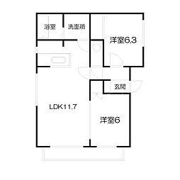 北海道札幌市中央区南十条西14丁目の賃貸マンションの間取り
