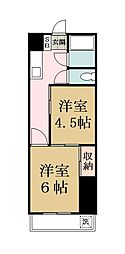 越谷第一マンション[206号室]の間取り