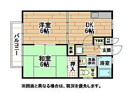 福岡県北九州市小倉南区津田南町の賃貸アパートの間取り