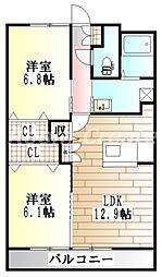 徳島県徳島市安宅3丁目の賃貸マンションの間取り