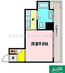 滋賀県大津市中央2丁目の賃貸マンションの間取り
