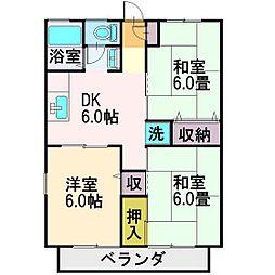 埼玉県富士見市上沢1丁目の賃貸アパートの間取り