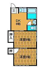 信盛荘[1階]の間取り