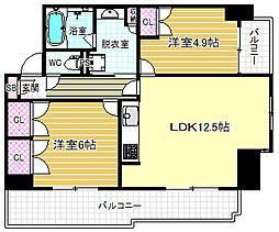 シティエール東梅田II[7階]の間取り