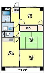 愛知県豊田市東梅坪町8丁目の賃貸マンションの間取り