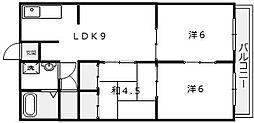 大阪府堺市堺区楠町3丁の賃貸マンションの間取り