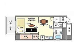 家具・家電付きライオンズマンション薬院駅南[8階]の間取り