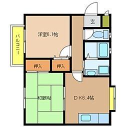 パセオグリーンA[2階]の間取り