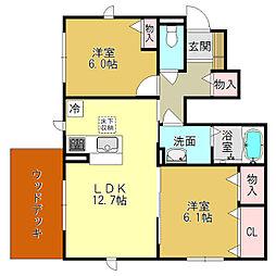 奈良県葛城市葛木の賃貸アパートの間取り