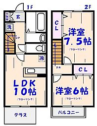 [テラスハウス] 千葉県市川市北方3丁目 の賃貸【/】の間取り