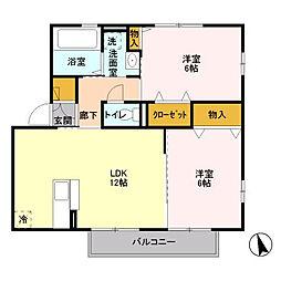 D-room ウィンド東海岸[201号室]の間取り