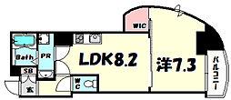SERENITE神戸元町クレア 2階1LDKの間取り