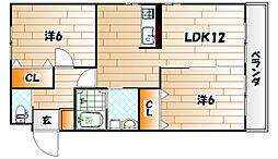 福岡県北九州市小倉南区沼緑町4丁目の賃貸アパートの間取り