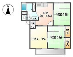シャンポール下中野B棟[1階]の間取り