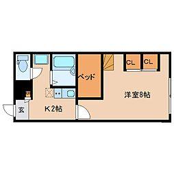 近鉄京都線 大和西大寺駅 バス16分 南押熊下車 徒歩2分の賃貸アパート 2階1Kの間取り