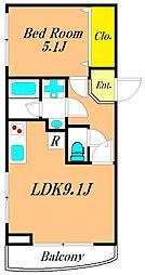 THE CLASS OMORI RESIDENCE 2階1LDKの間取り