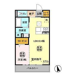 (仮称)D−room 中成沢町[203号室]の間取り