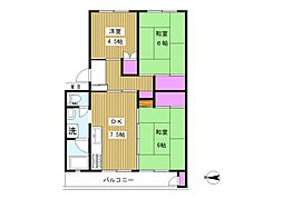 フラワリー霞ヶ関 1号棟[2階]の間取り