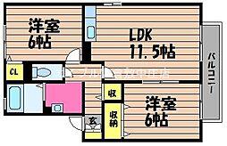 岡山県倉敷市福井の賃貸アパートの間取り