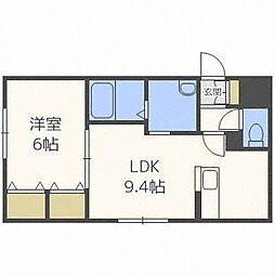 北海道札幌市西区発寒六条10丁目の賃貸マンションの間取り