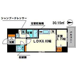 ディームス江坂駅前I 4階1LDKの間取り
