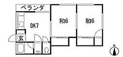 広島県安芸郡府中町青崎南の賃貸アパートの間取り