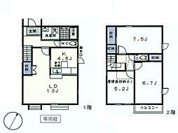 東急田園都市線 あざみ野駅 徒歩16分の賃貸テラスハウス 3LDKの間取り