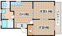 兵庫県神戸市中央区大日通3丁目の賃貸アパートの間取り