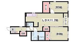 神鉄粟生線 葉多駅 徒歩11分の賃貸アパート 1階2LDKの間取り