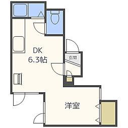 LILA48 2階1DKの間取り