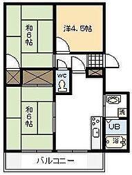 パレス木花台B棟[205号室]の間取り
