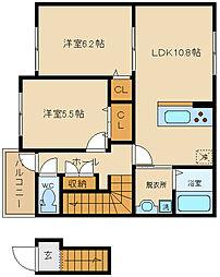 大阪府八尾市小阪合町1丁目の賃貸アパートの間取り