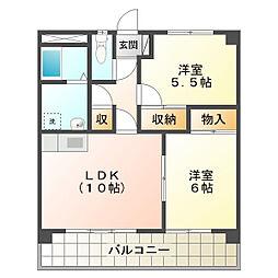 エスティ阪田[2B号室]の間取り