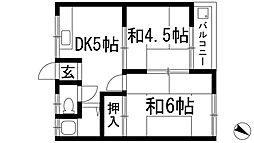 大阪府箕面市牧落5丁目の賃貸アパートの間取り