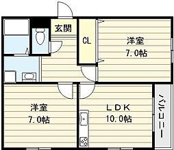 大阪府大阪市平野区加美北3丁目の賃貸マンションの間取り
