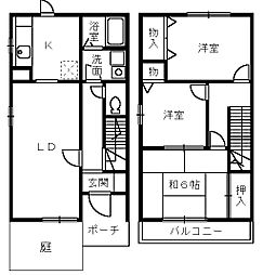 [テラスハウス] 大阪府和泉市小田町3丁目 の賃貸【/】の間取り