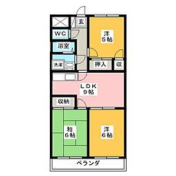 ファミール西浜田 北館[3階]の間取り