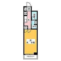 プレール・ドゥーク西新井 5階1Kの間取り